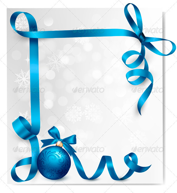 GraphicRiver Holiday Background with Blue Gift Ribbons 3582849