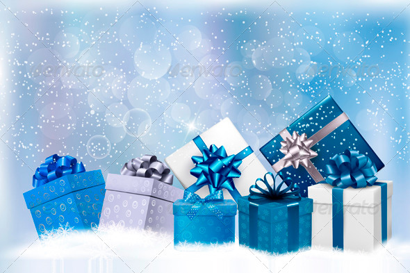 GraphicRiver Christmas Blue Background with Gift Boxes and Snow 3583055