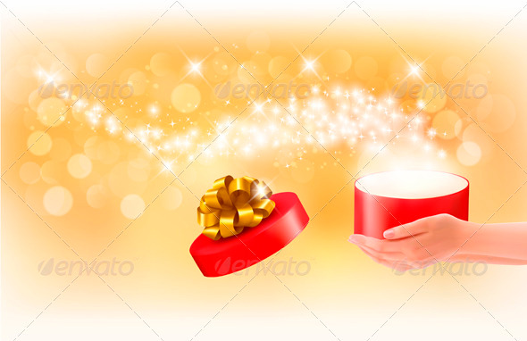 GraphicRiver Christmas Background with Gift Magic Box 3583076