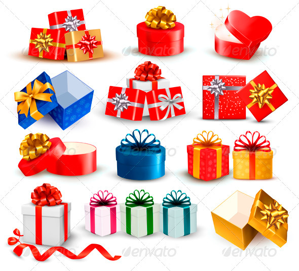 GraphicRiver Set of Colorful Gift Boxes with Bows and Ribbons 3583127