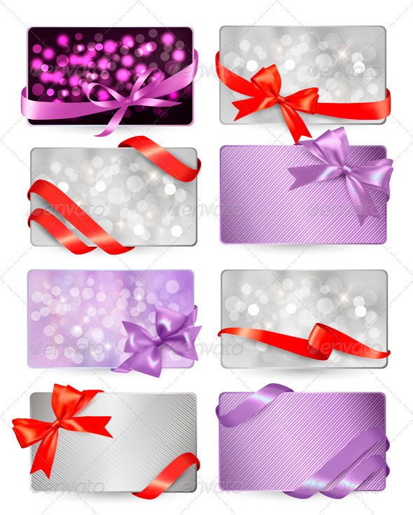 GraphicRiver Set of Colorful Gift Cards with Bows and Ribbons 3583141