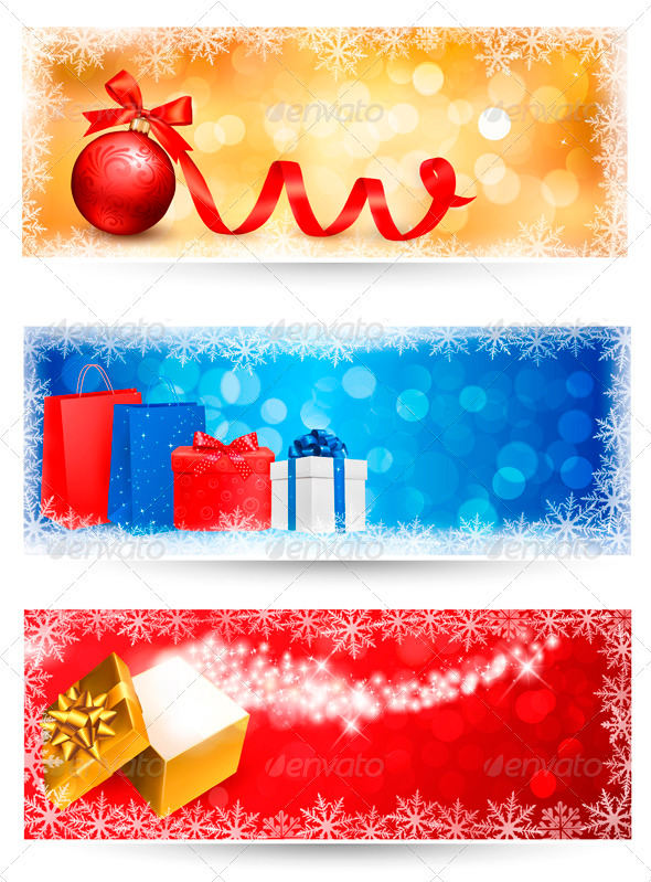 GraphicRiver Three Christmas Banners with Gift Boxes 3583145