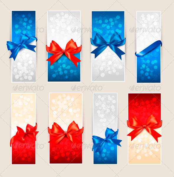 Set of Colorful Gift Cards with Bows and Ribbons