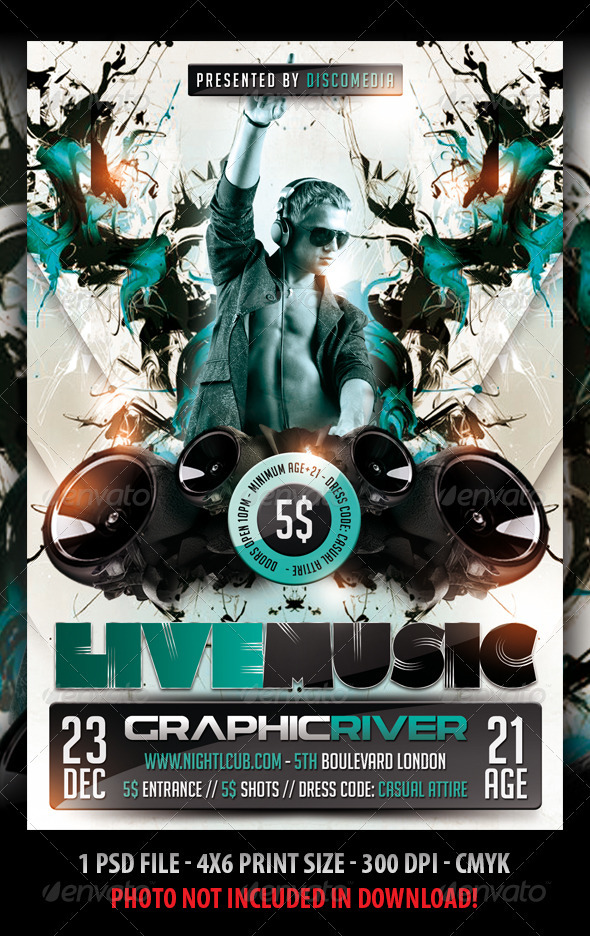 GraphicRiver Electro Club Party Flyer 3583166