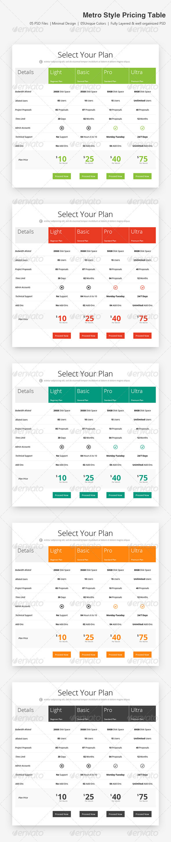 GraphicRiver Metro Style Price Table 3583206