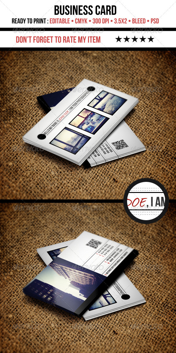 GraphicRiver Photography Business Cards 3583220