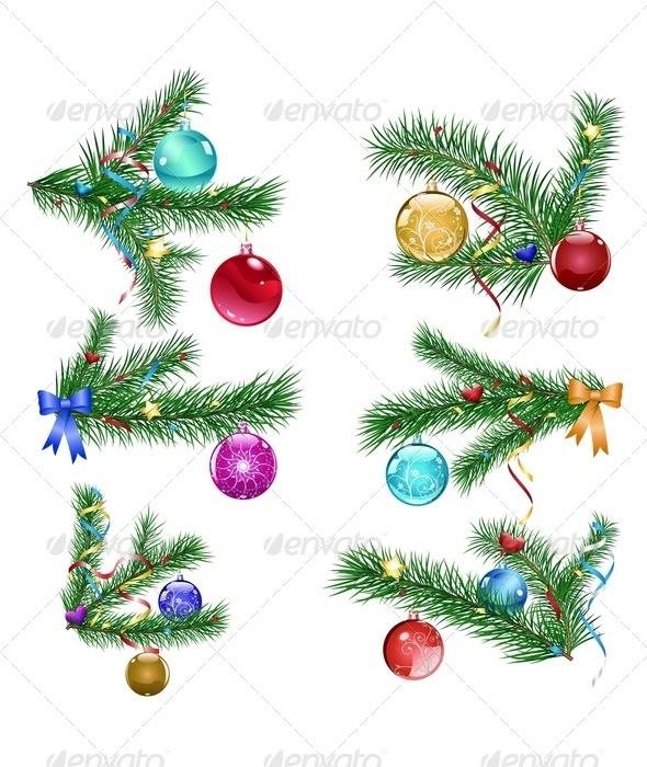 Christmas Tree Branches with Christmas Balls - Christmas Seasons/Holidays