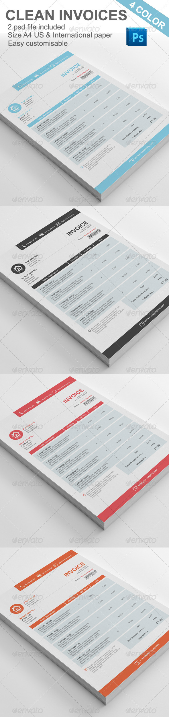 GraphicRiver Gstudio Clean Invoices Template 3583781