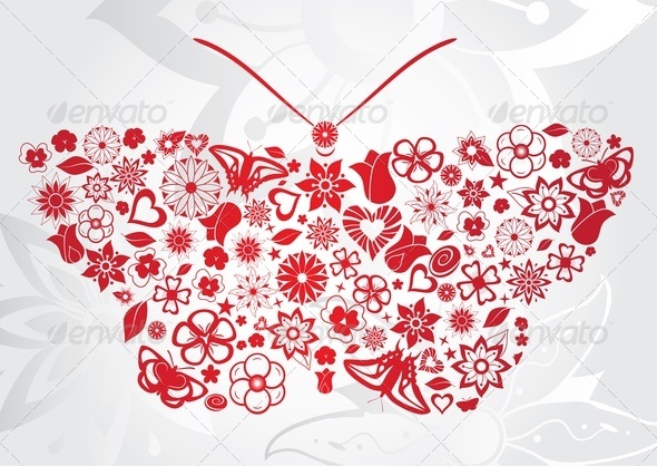 GraphicRiver Red Flower Butterfly 3544806