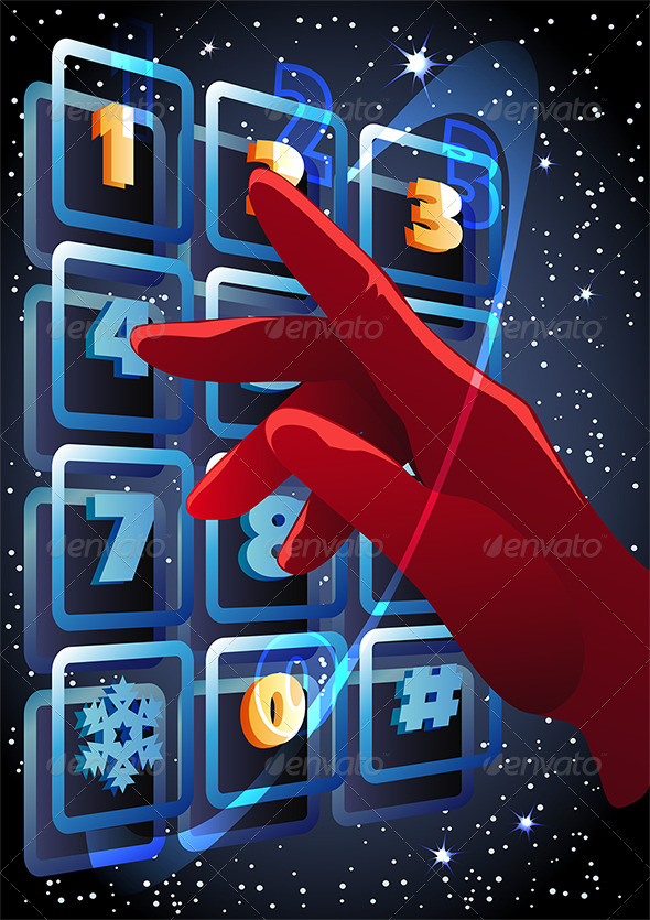 GraphicRiver The Hand Pressing the Buttons with Figures 3583786