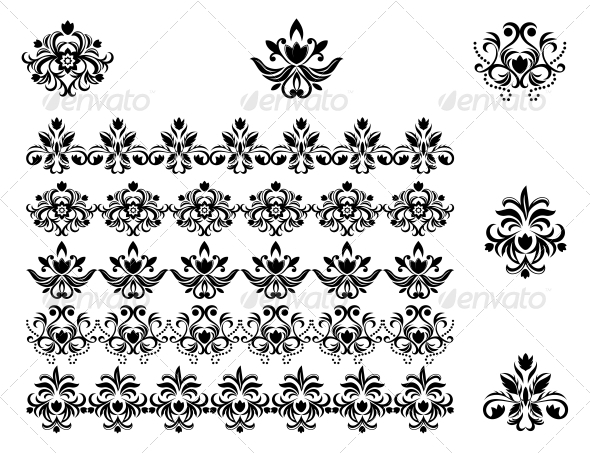 GraphicRiver Flower Patterns and Borders 3583947
