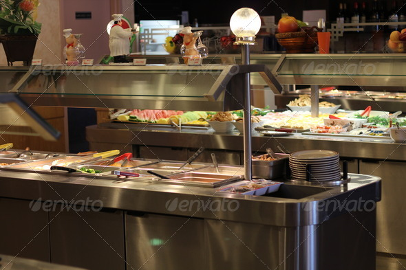Buffet Table of Hot Food with Dessert Bar and Fresh Fruit - Stock Photo - Images