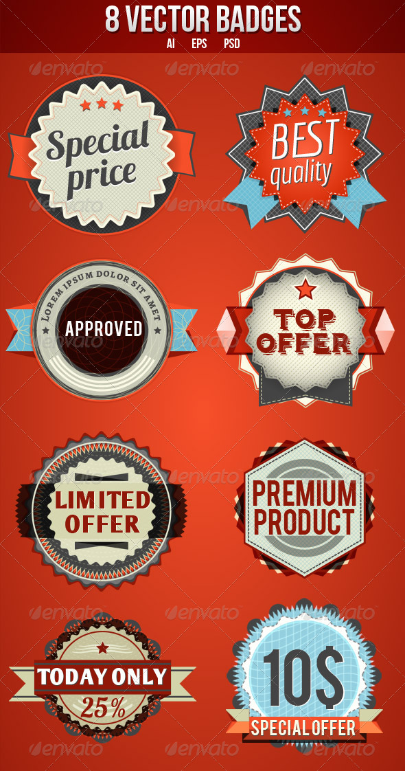 GraphicRiver 8 Vector Badges 3585436
