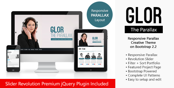 ThemeForest GLOR HTML5 Responsive Parallax on Bootstrap 3476938