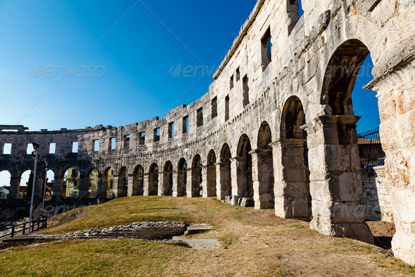 Ancient Roman Amphitheater in Pula, Istria, Croatia - Stock Photo - Images