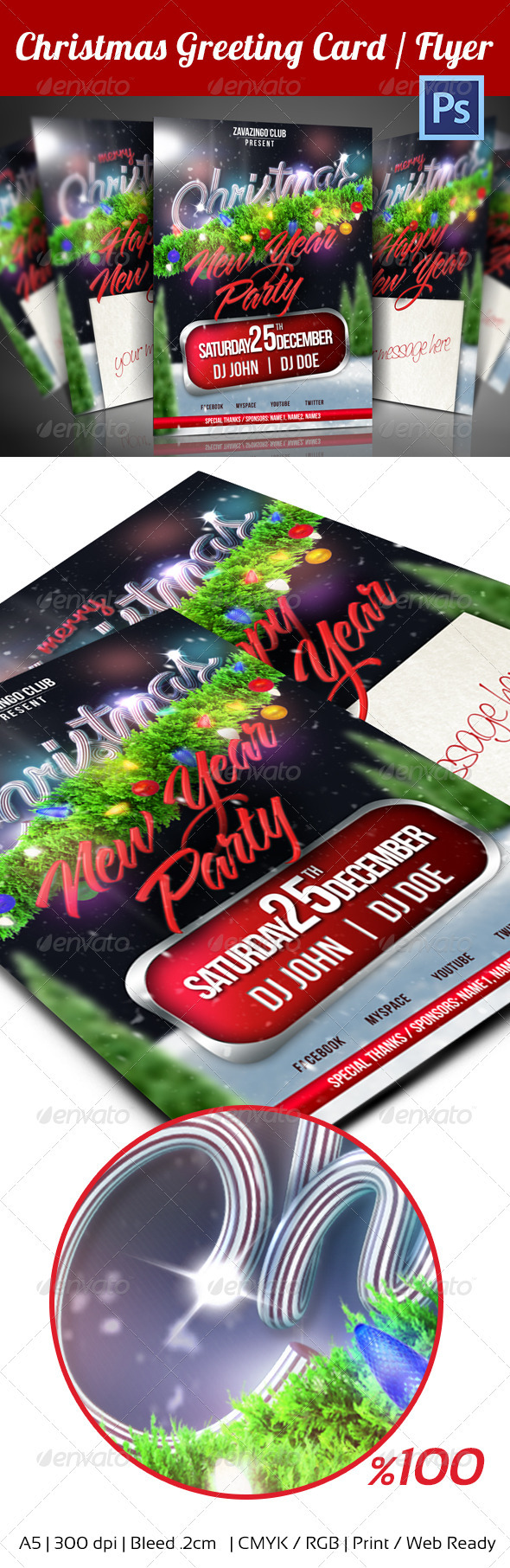 GraphicRiver Christmas Party Flyer Greeting Card 3585943