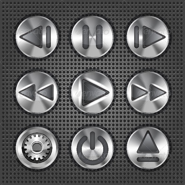 GraphicRiver Set of Stylish Multimedia Metallic Buttons 3586115