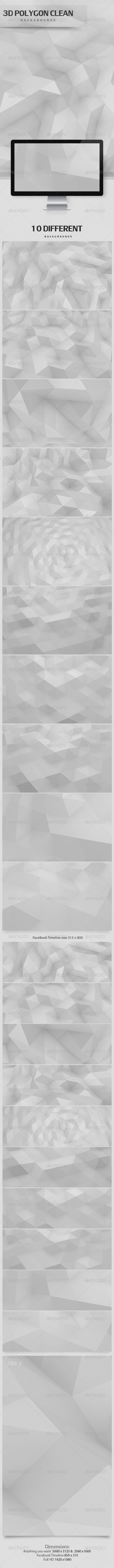 GraphicRiver 3D Polygon Clean Backgrounds 3586209