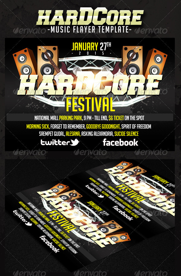 GraphicRiver Hardcore Music Flyer 3545879