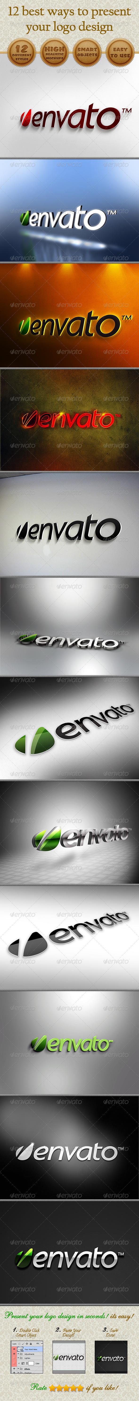 GraphicRiver 12 Logo Presentation Mockups 3551002