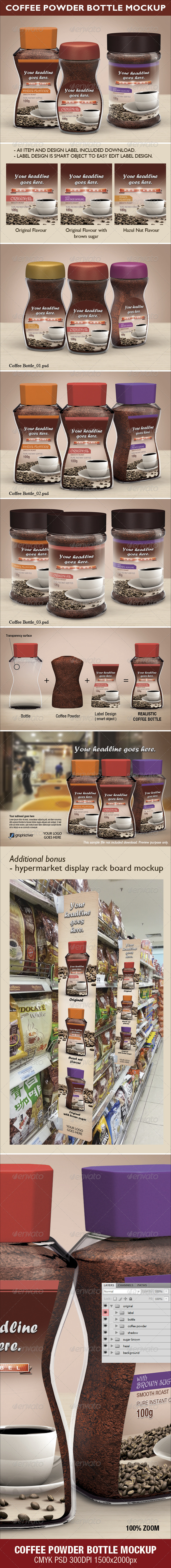 GraphicRiver Coffee Powder Bottle Mock-up 3586675