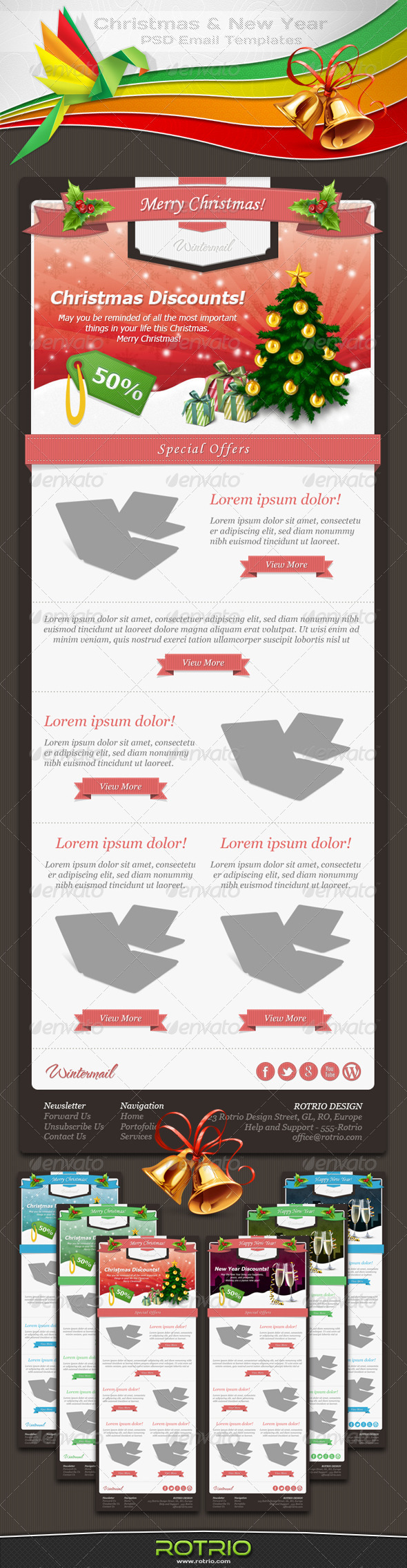 Christmas and New Year - PSD Email Templates - E-newsletters Web Elements