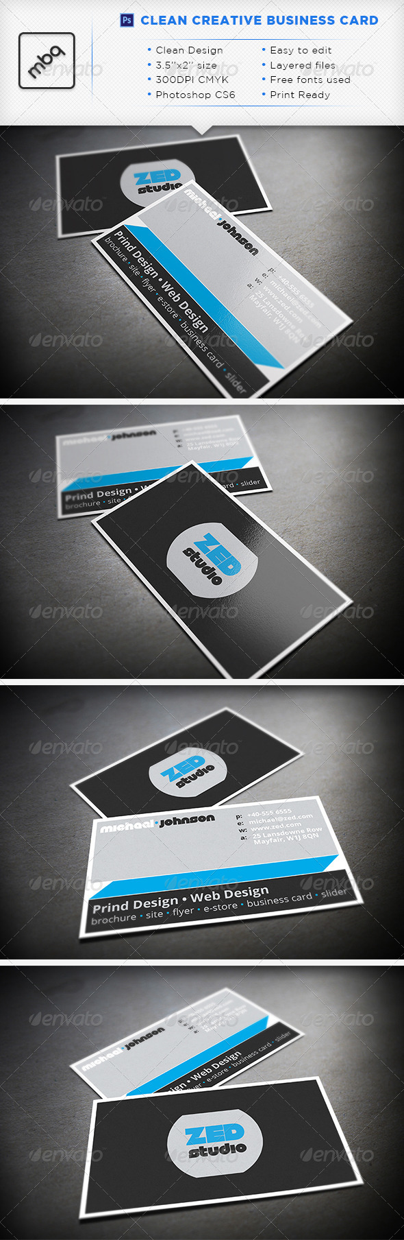 GraphicRiver Clean Creative Business Card 3586793