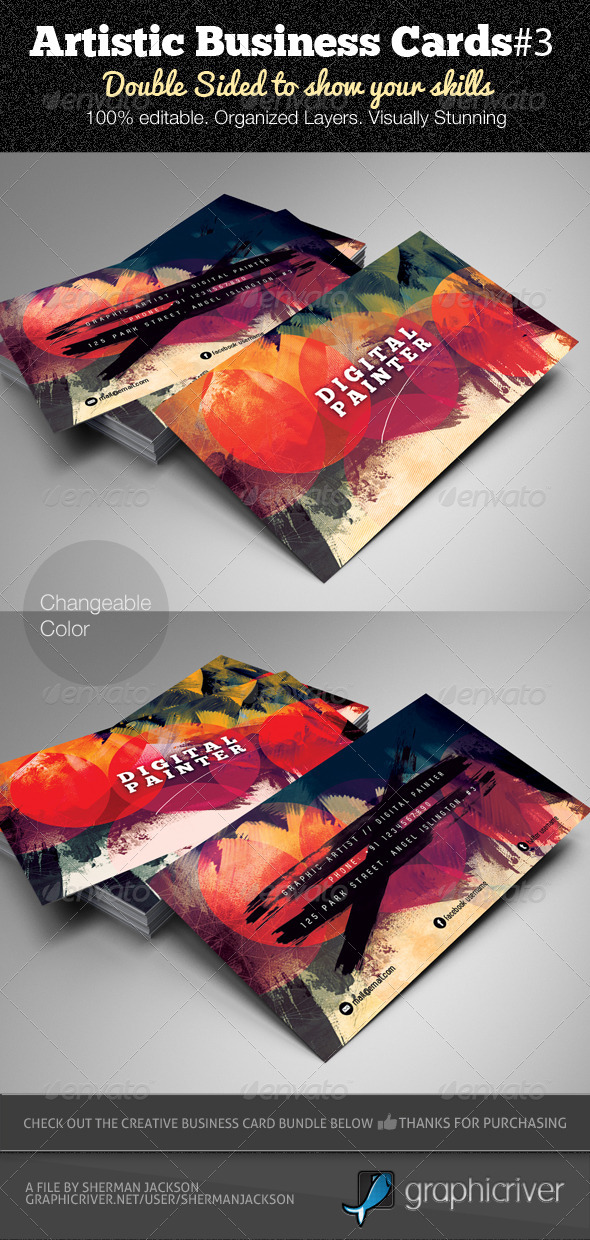 GraphicRiver Artistic Business Card#3 PSD Template 3587432