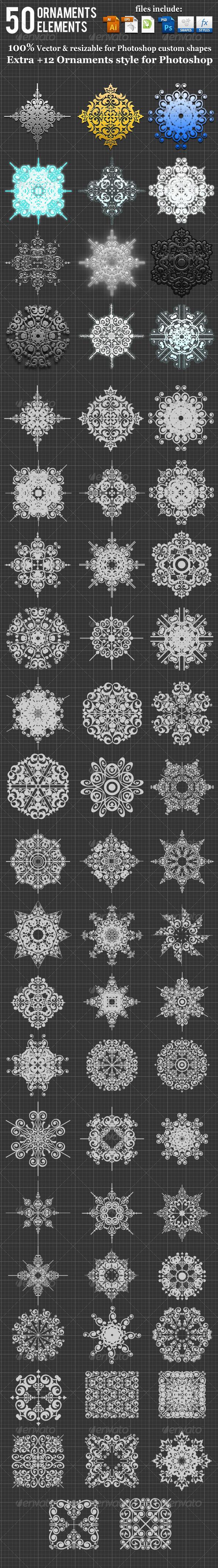 GraphicRiver 50 Ornaments Element Photoshop Custom Shape 3456670