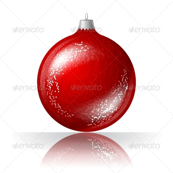 Vector Illustration of Red Christmas Ball.