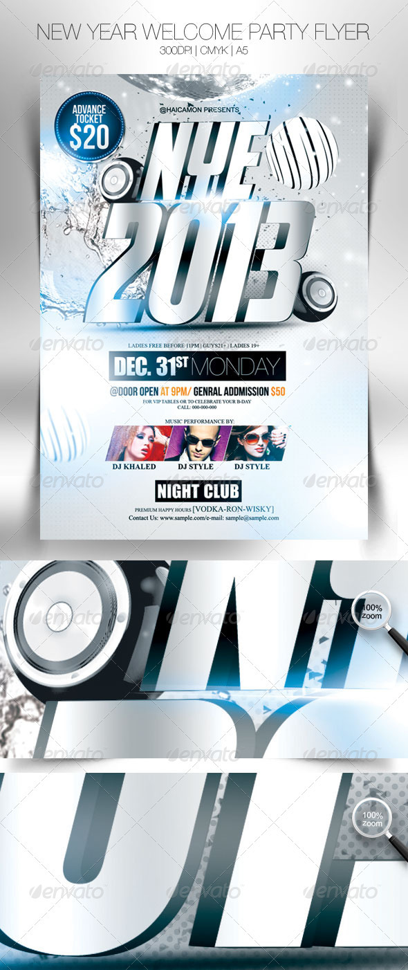GraphicRiver New Year Welcome Party Flyer 3588496