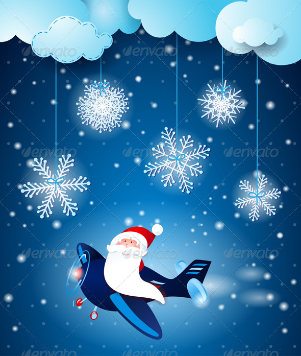 GraphicRiver Santa on the Airplane 3589168