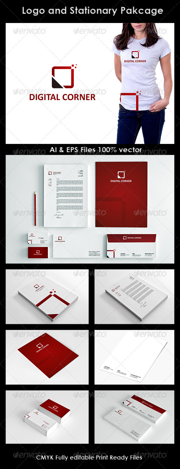 Digital Corner Logo and Corporate Identity - Stationery Print Templates