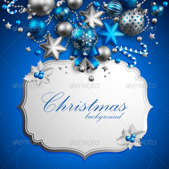 GraphicRiver Christmas Background Blue Set 3590250
