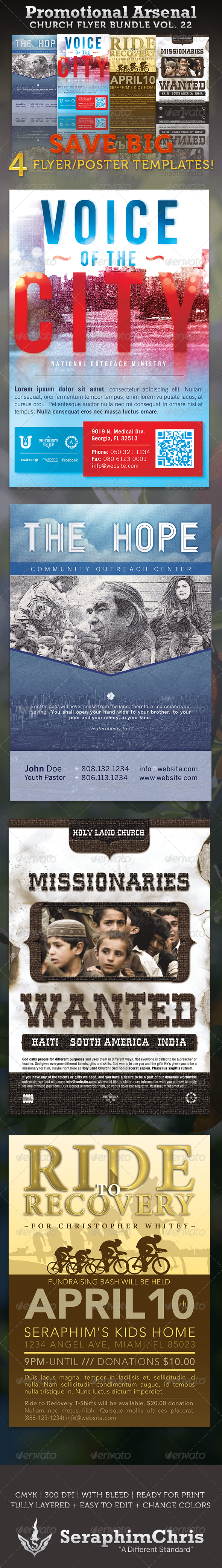 GraphicRiver Promotional Arsenal Church Flyer Bundle 22 3590489