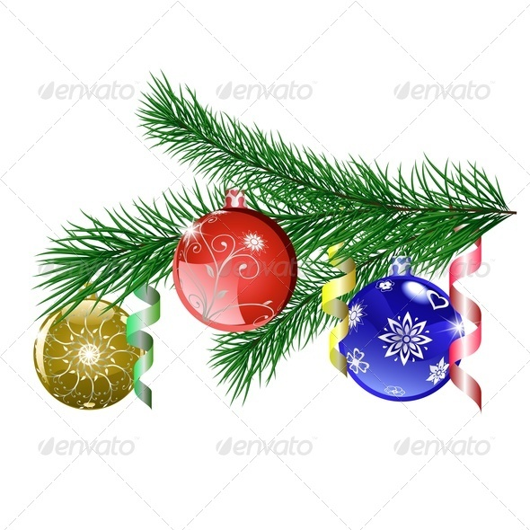 Christmas Tree Branch With Christmas Balls - Christmas Seasons/Holidays