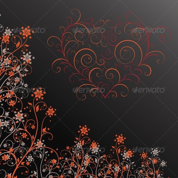 GraphicRiver Dark Grunge Flower With Heart 3549374