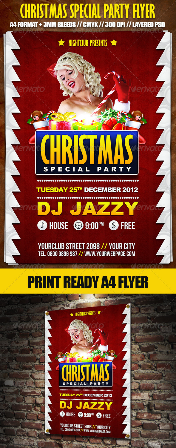 GraphicRiver Christmas Special Party A4 Flyer 3591510