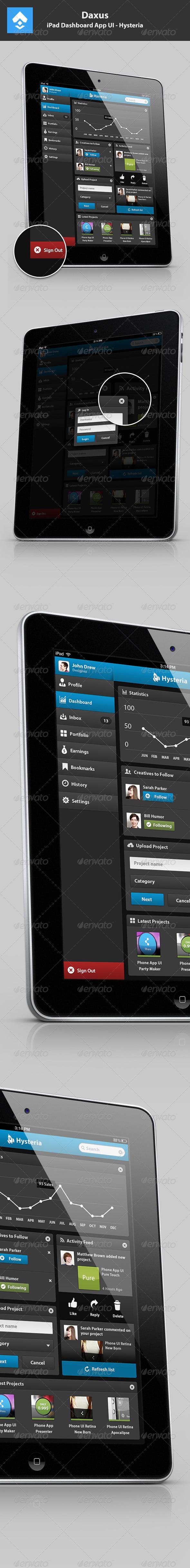 GraphicRiver iPad Dashboard App UI Hysteria 3549582