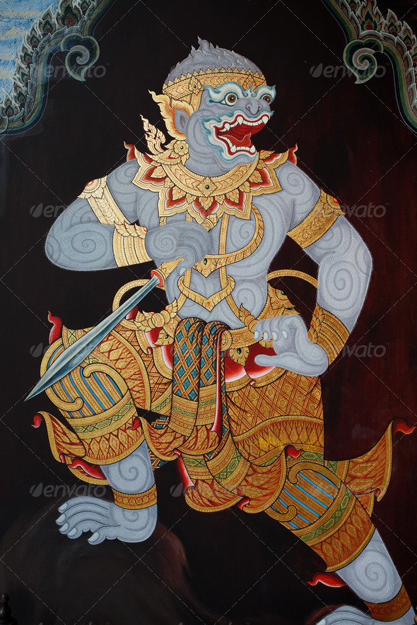 Public Art Painting at Thai Temple - Stock Photo - Images