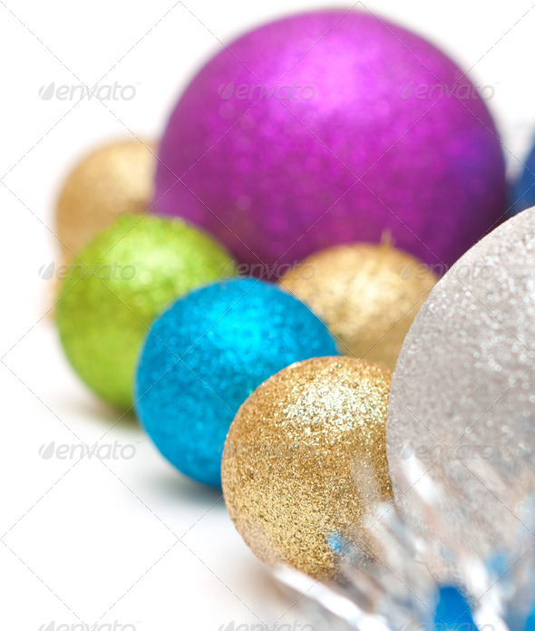 Christmas balls  of  bright colors - Stock Photo - Images