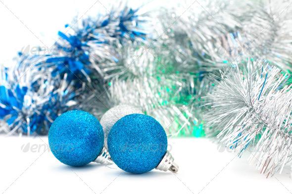 Christmas shiny  blue balls - Stock Photo - Images