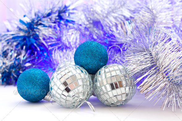 Christmas balls with colored lights - Stock Photo - Images
