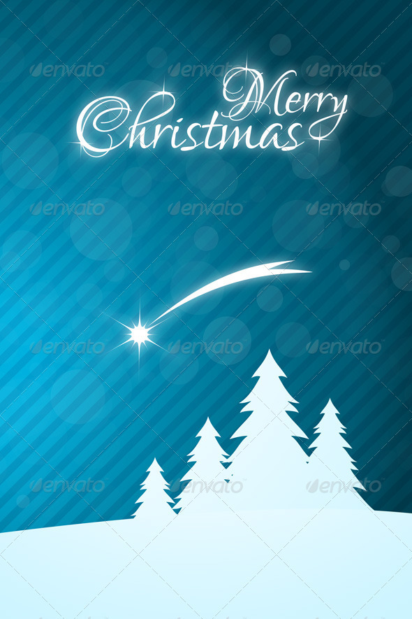 Merry Christmas Greeting Card with Star