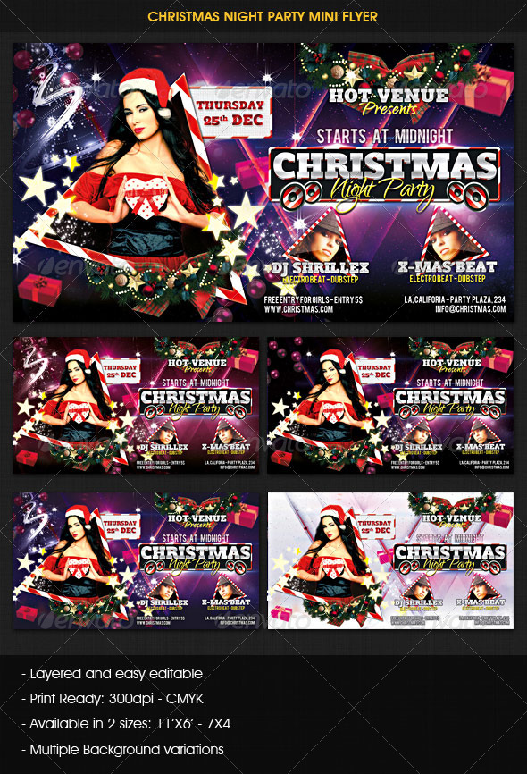 GraphicRiver Christmas Night Party Mini Flyer 3592607