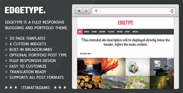 ThemeForest Edgetype Responsive Blog & Portfolio Theme 3583879