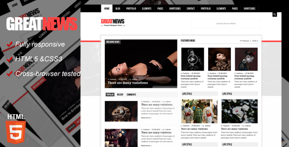 ThemeForest Great News Magazine Responsive Template 3592775