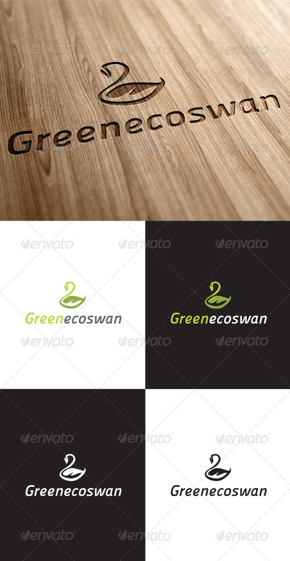 GraphicRiver Eco Green Swan Logo 3549151