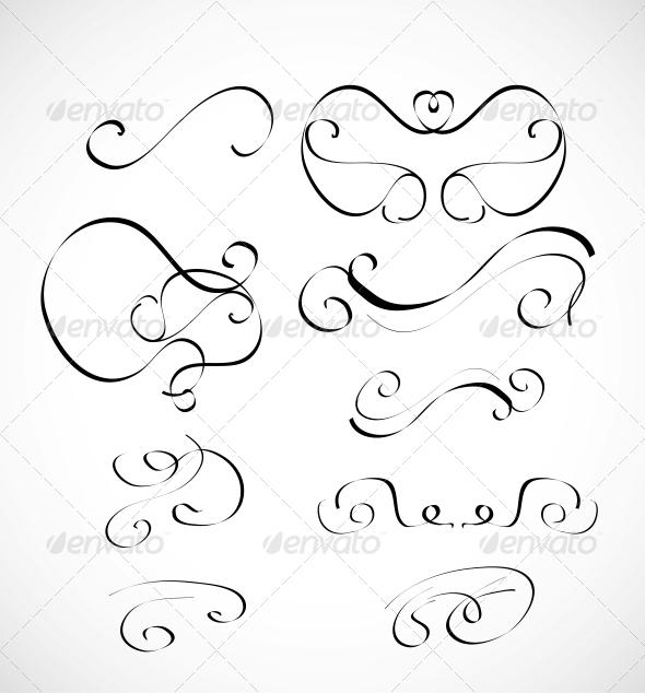 GraphicRiver Set of Calligraphic Design Elements 3593617