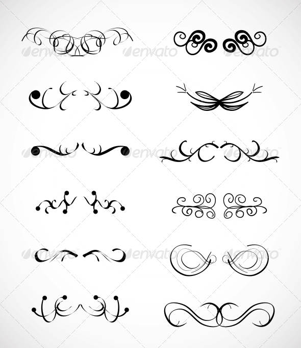GraphicRiver Set of Calligraphic Design Elements 3593619